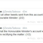 """Ethiopia – Zenebu Tadesse : """"account Hacked by Unknown person(s)"""""""