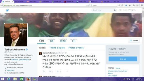 Screenshot from twitter page of Tedros Adhanom