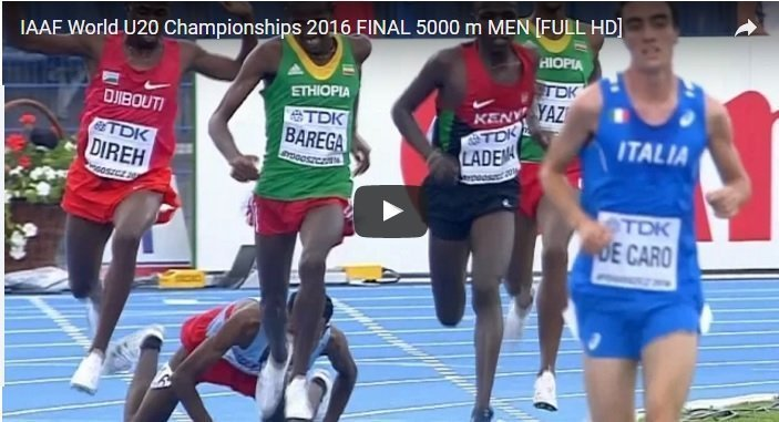 Full race : Men's 5000m IAAF U20 Champion Bydgoszcz 2016 5000m – Selemon Berga