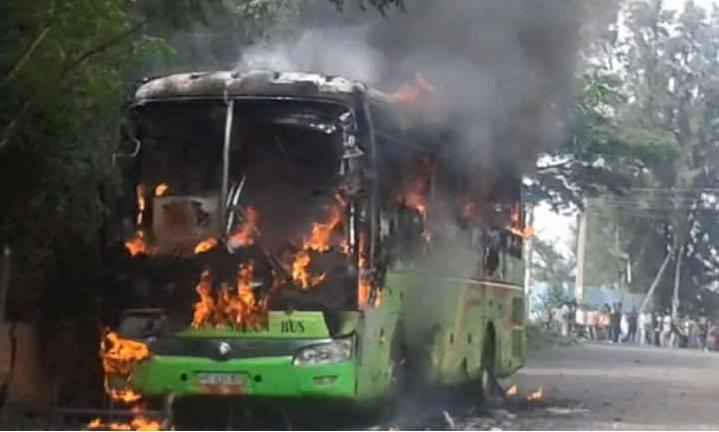 Burned Selam Bus in Gonder  Source : ESAT
