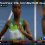 Video of Almaz Ayana 's new world record in women's 10,000 meters at Rio2016