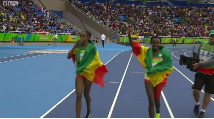Almaz Ayana and Tirunesh Dibaba celebrating medals for Ethiopia  Photo : Screenshot from BBC video