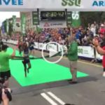 Ethiopia : Ebisa Ejigu Seconded Feyisa Lilesa ; showed protest sign as he crosses finishing line in Quebec Marathon