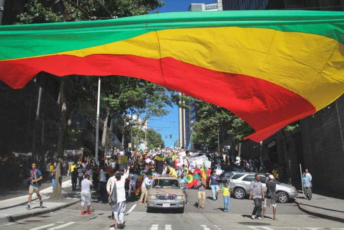 Ethiopians Americans marched downtown Tuesday in a solidarity protest of the Ethiopian government's oppression — and the lack of attention that it gets in Western countries. (Photo by Damme Getachew)