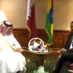 Regime flag upside down during talk with Qatari FM Sheikh Mohammed Bin Abdulrahman bin Jassim Al-Thani