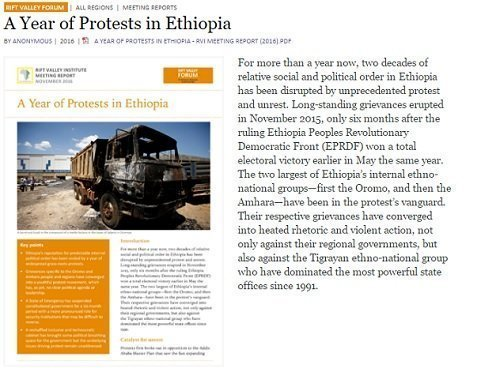 Report : A Year of Protests in Ethiopia